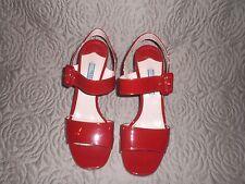 Prada Hot Red Patent Leather  Heel Sandals Sz 37.5  Retails $750
