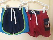 Circo Boys Swim Trunks Suit Size 12 Months 12 MO  VGUC - 2 Pair LOT