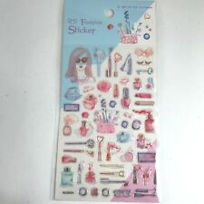 52 ASSORTED FASHION COSMETICS COLORS NAIL LIPSTICK STICKERS SCRAPBOOK COLLECTION