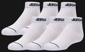 NIKE MJ Jordan Jumpman Dri-Fit No Show Socks - White 6 Pairs Boys / Youth 3Y- 5Y