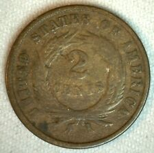 1870 US Shield 2 Two Cents Bronze Coin Good Coin