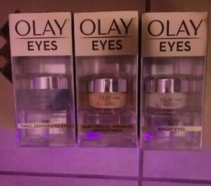 (3 count) Olay Eyes Hydrating Bright Eye Cream/Gel for Wrinkles Puffiness etc.