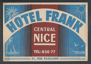 Hotel Frank NICE France - vintage luggage label