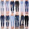 Women Lady Denim Skinny Pants High Waist Stretch Jeans Slim Pencil Trousers