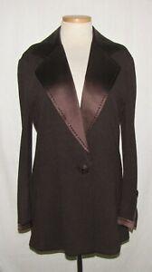 St John Evening Dk Brown Santana Knit w/Embellished Satin Trim Blazer Jacket 12