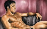Print Of Original Male Oil Painting -Taking A Rest Man Art Figure Artist Andreev