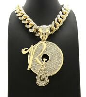 MOB 2PAC PENDANT LAB DIAMOND CUBAN LINK CHAIN NECKLACE GOLD TUPAC ICEY HIP HOP