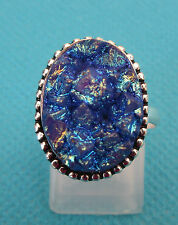925 Silver Ring With Natural Blue Titanium Druzy Size N 1/2, US 7  (rg2567)