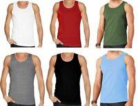 Mens Plain Vest Multi Pack Lot Basic Regular Fit Cotton Tank Top Athletic soft