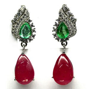 NATURAL 9 X 13 mm. PINK RUBY, GREEN EMERALD & CZ EARRINGS 925 STERLING SILVER