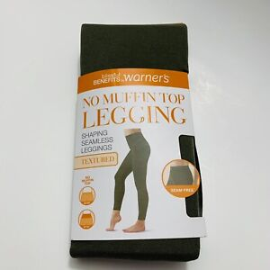 Warners No Muffin Top Shaping Seamless Textured Legging Comfort Olive Green S/M