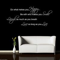 Laugh Smile Love Live Wall Sticker Quote Decal Mural Stencil Transfer WSD414