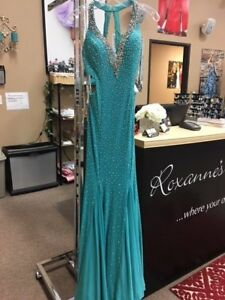 Panoply 14758 Jade Green AB Pageant Prom Gown Dress sz 0