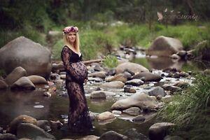 Black Lace Maternity Gown Dress Drape - Long Sleeves - Photo Shoot Pregnant