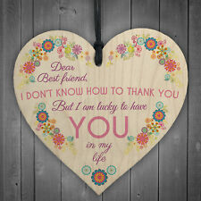 Dear Best Friend Wooden Hanging Heart Friendship Sign Best Friend Plaque Gift