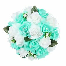 Wedding Bouquet Bridal Bridesmaid Aartificial Rose Flower Lace HandMade Decor I