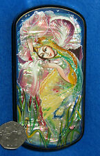 RUSSIAN LACQUER SHELL Box UNIQUE HAND PAINTED Trinket FOREST Flower FAIRY GIRL