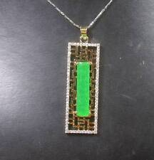 Gold Plate Green JADE Pendant Rectangle Longevity Diamond (Imitation) 268291 US