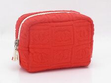 Auth CHANEL Cosmetics Pouch Bag Pile Orange Italy Vintage 18557641