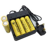 6X Flat Top 18650 3.7V 9800mAh Li-ion Rechargeable Battery&UK Plug 4.2V Charger