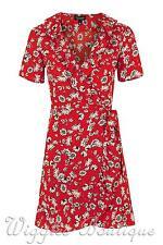 Topshop Daisy Floral Print Ruffle Frill Wrap Tea Dress - Red UK12/EU40/US8 BNWT
