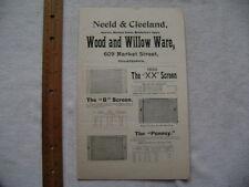 1896 Four page Screen Door advertisement - Neeld & Cleeland, Philadelphia