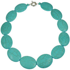 Genuine semi precious turquoise chunky large oval shape choker necklace jewelry
