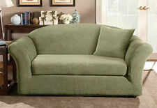 Stretch Stripe 2 piece Loveseat Slipcover Box Cushion in Green