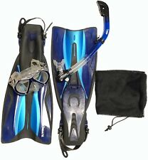 Promate Adult Snorkeling Set Mask, Snorkel, Fins Package w/ Carrying Storage Bag
