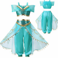 Kids Aladdin Costume Princess Jasmine Outfits Girls Sequin Party Fancy Dress