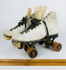 Vintage White Leather CHICAGO Roller Skates w/ WOODEN WHEELS Womens Size 7 or 8?