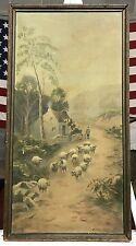 ANTIQUE OIL ON CANVAS PAINTING SIGNED MIKE BOB - BOG VERY OLD SHEEP HERDER