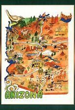 Arizona, Phoenix, Flagstaff, Tombstone, Grand Canyon etc. --- State Map Postcard