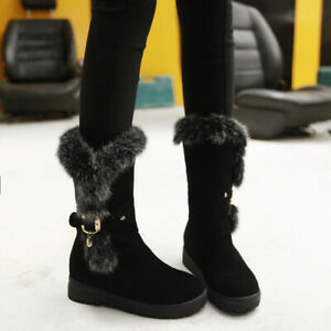 Women Suede Fabric Fur Trim Round Toe Mid Calf Winter Warm Boots Plus Size @