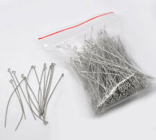 200Pcs Silver Tone Handmade Alloy Eye Pins Charms Jewelry Finding Component 70mm