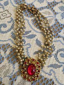🌹 Fantastic Vintage Austro Hungarian Rhinestone pearl choker necklace rare 60s