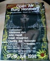 BURG HERZBERG FESTIVAL 1998 PLAKAT KONZERT POSTER GEFALTET COLOSSEUM MAYALL ASH