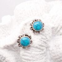 Mohave Türkis rund blau Blüte Design Ohrringe Ohrstecker 925 Sterling Silber neu