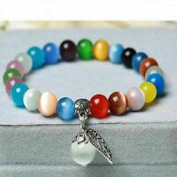 Fashion Woman's Cat's Eye Crystal Lap Glass Beads Charm Beaded Bracelet Jewelry