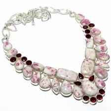 """Cinnabar, Garnet Gemstone Handmade 925 Sterling Silver Necklace 18"""""""