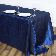"Navy Blue RECTANGLE 90x132"" Crinkled Taffeta TABLECLOTH Wedding Party Linens"