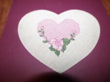 """Beautiful COMPLETED ROSE HEART Counted Cross Stitch 8"""" x 8"""" in Heart Mat"""