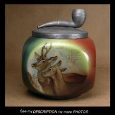 Antique Handel Lamp Co Ware HUMIDOR Tobacco Jar w/ DEER