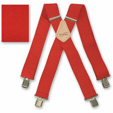 "Brimarc Mens Braces Heavy Duty Suspenders 2"" 50mm Wide Red Braces"