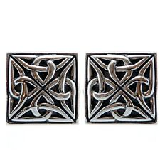 Square Sterling Silver Celtic Cufflinks with Gift Box