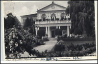 Bad Salzuflen alte Postkarte AK gebraucht 1933 gelaufen Leopold Bad Park Eingang