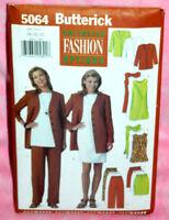 Uncut Butterick Sz 18-22 Jacket Straight Dress Tunic Skirt & Pants Pattern 5064