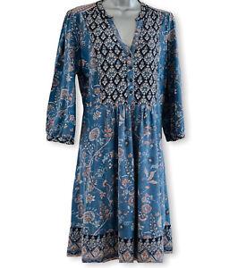 Monsoon Blue A-line Dress UK12 Button Front Bird Floral Print Cotton Cottagecore