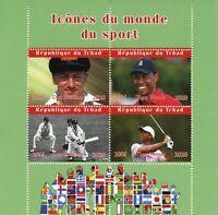 Chad Sports Stamps 2020 MNH Don Bradman Cricket Tiger Woods Golf 4v M/S I