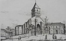 Litografía siglo XIX - Iglesia del Mas d'Aire - Las landas - P.B - J.Philippe